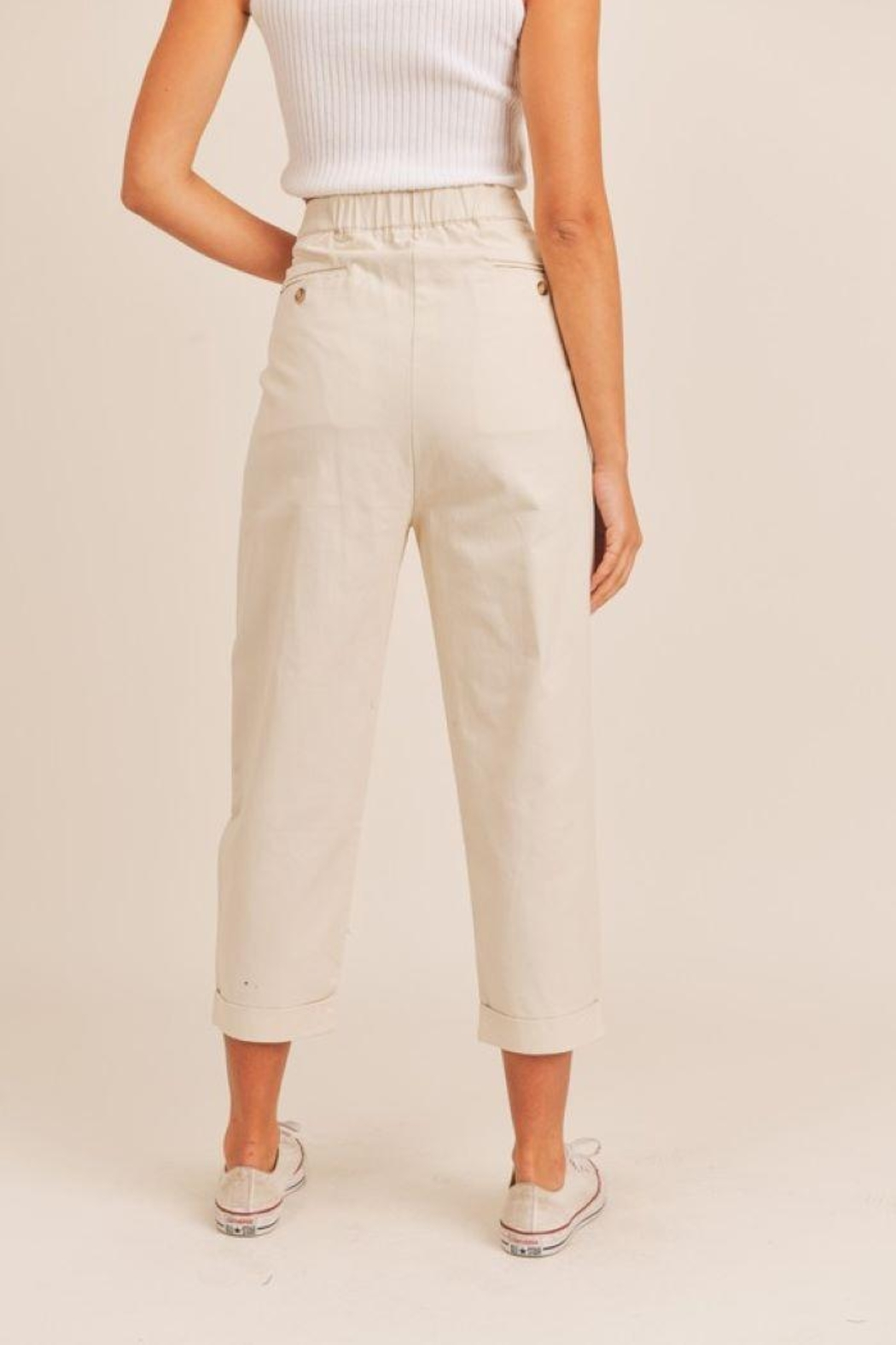 Mable Unbalance Button Cropped Pants - Front Full Image