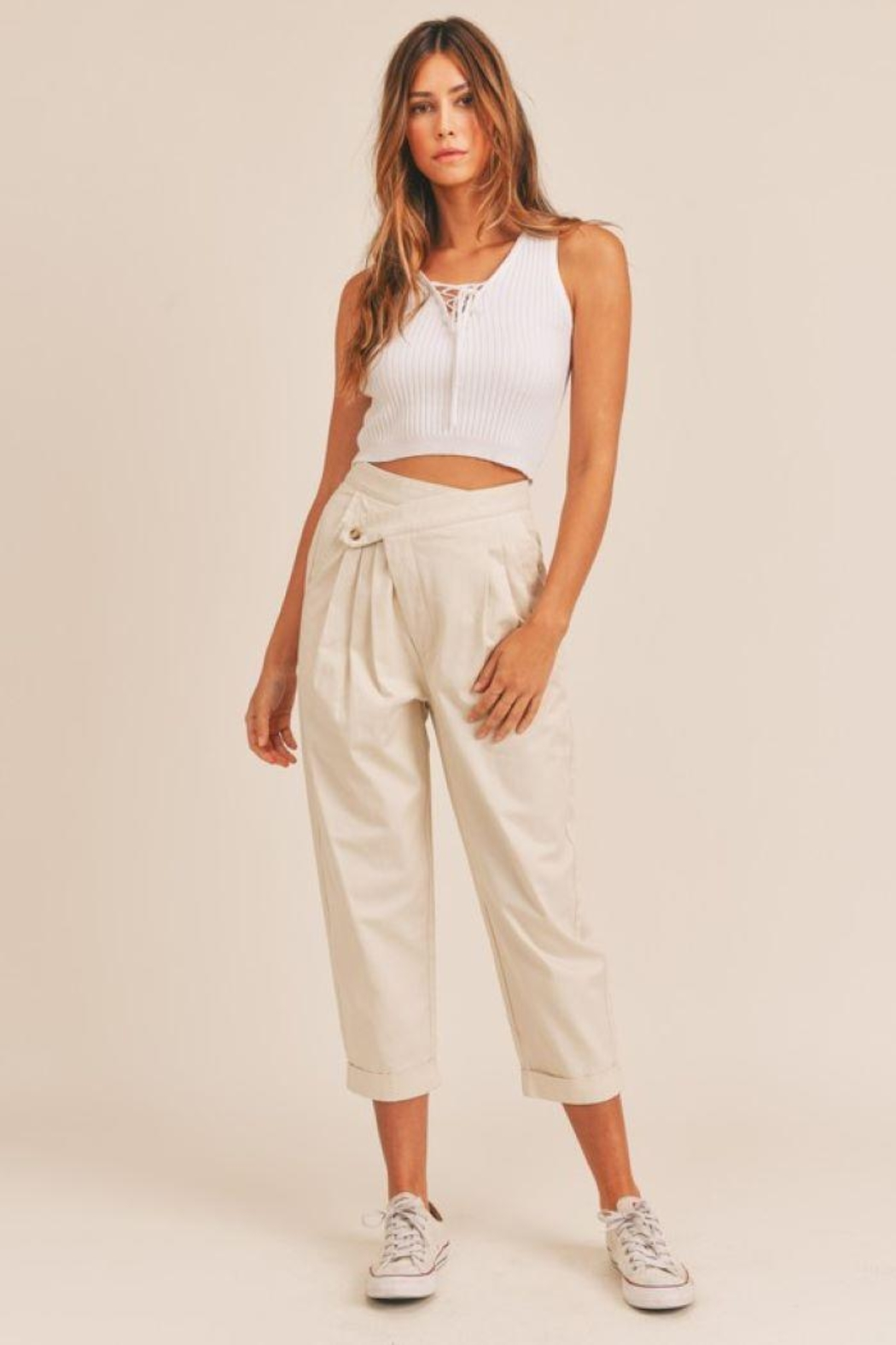 Mable Unbalance Button Cropped Pants - Front Cropped Image