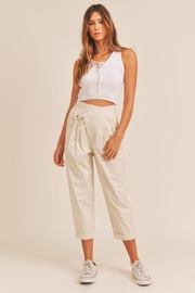Mable Unbalance Button Cropped Pants - Front cropped