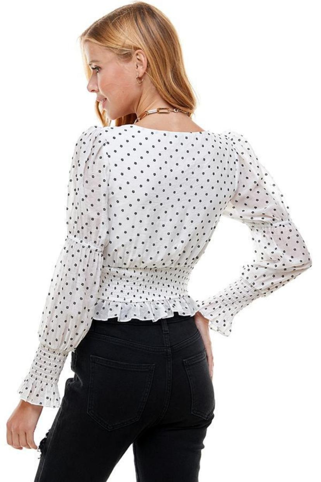 Mable White Daisy Top - Front Full Image