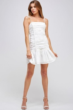 Mable White Shirring Dress - Product List Image