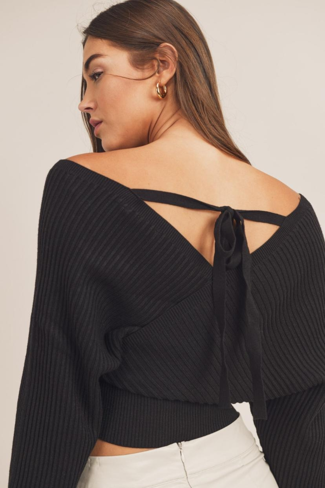Mable Wide-Shoulder Sweater Top - Back Cropped Image