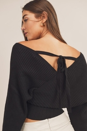 Mable Wide-Shoulder Sweater Top - Back cropped