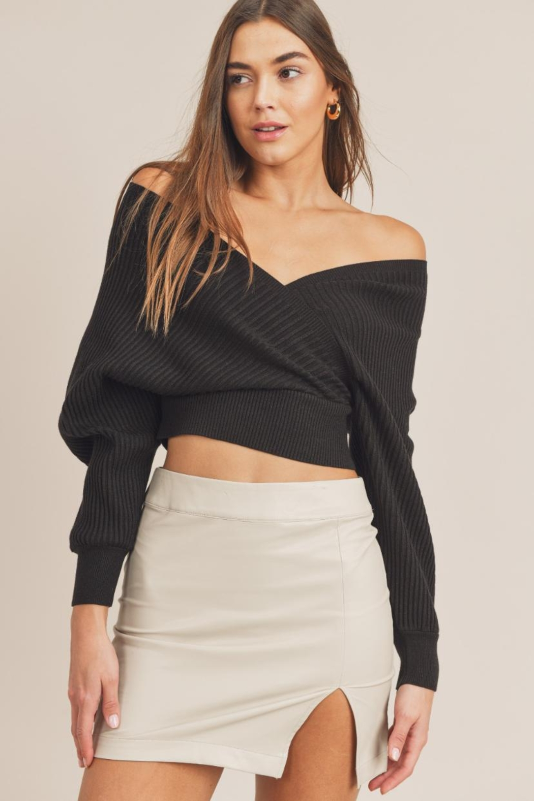 Mable Wide-Shoulder Sweater Top - Main Image