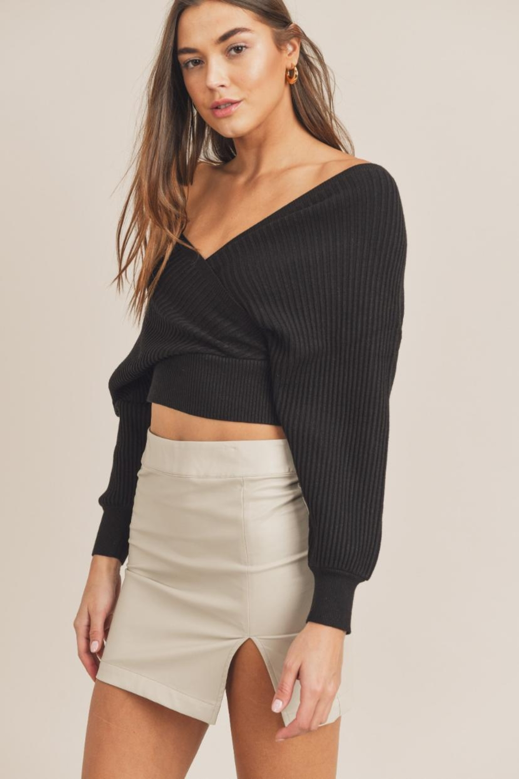 Mable Wide-Shoulder Sweater Top - Front Full Image