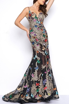 Mac Duggal Black Butterflies Gown - Product List Image