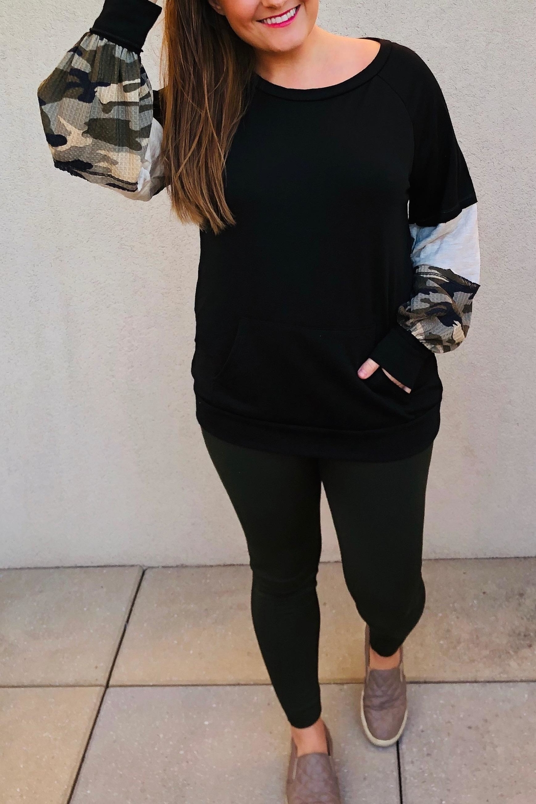 Macaron Block Camo Pullover - Front Cropped Image