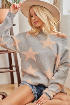 Shoptiques Product: Gray Star Sweater