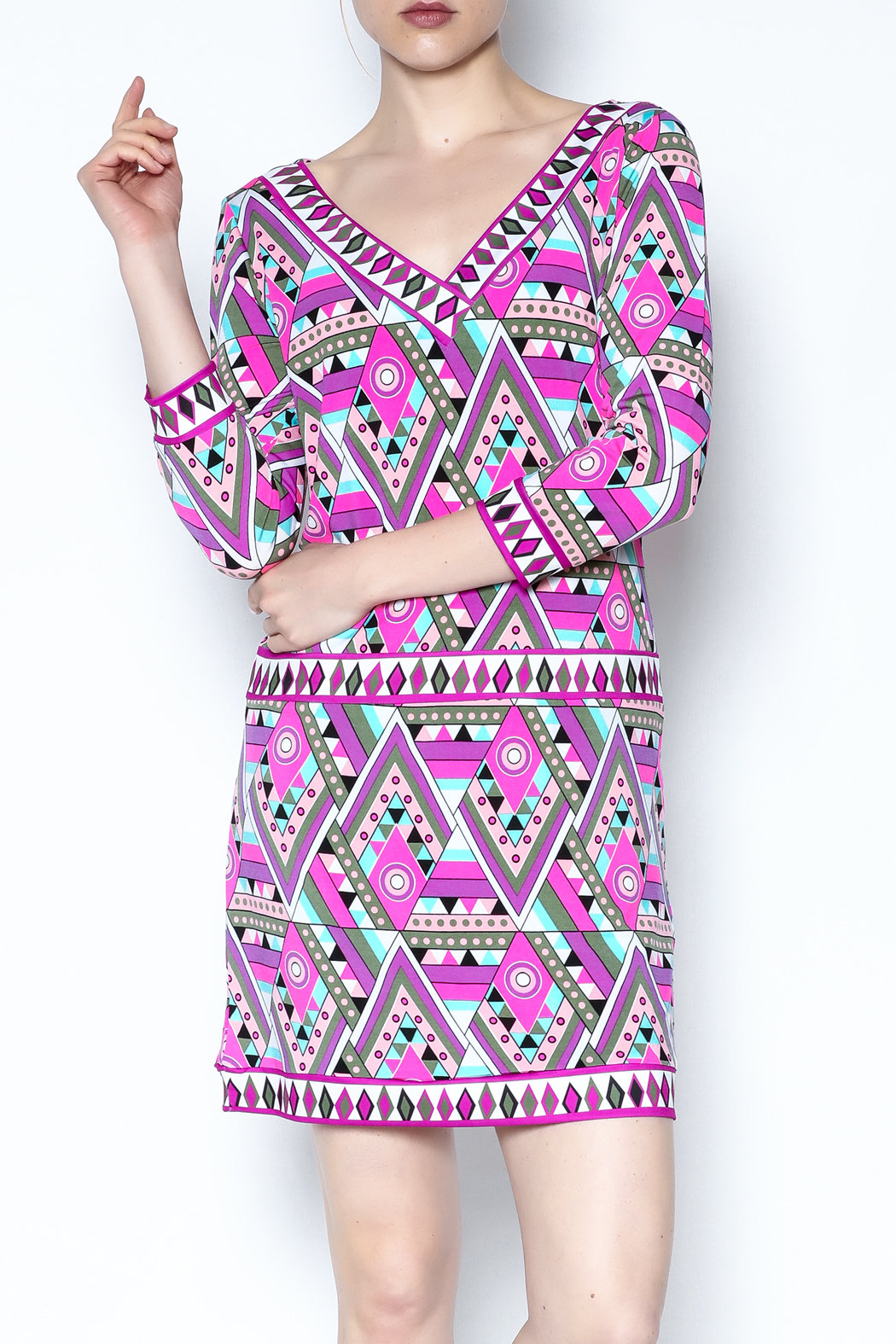Macbeth Collection Multicolor Pattern Dress - Front Cropped Image