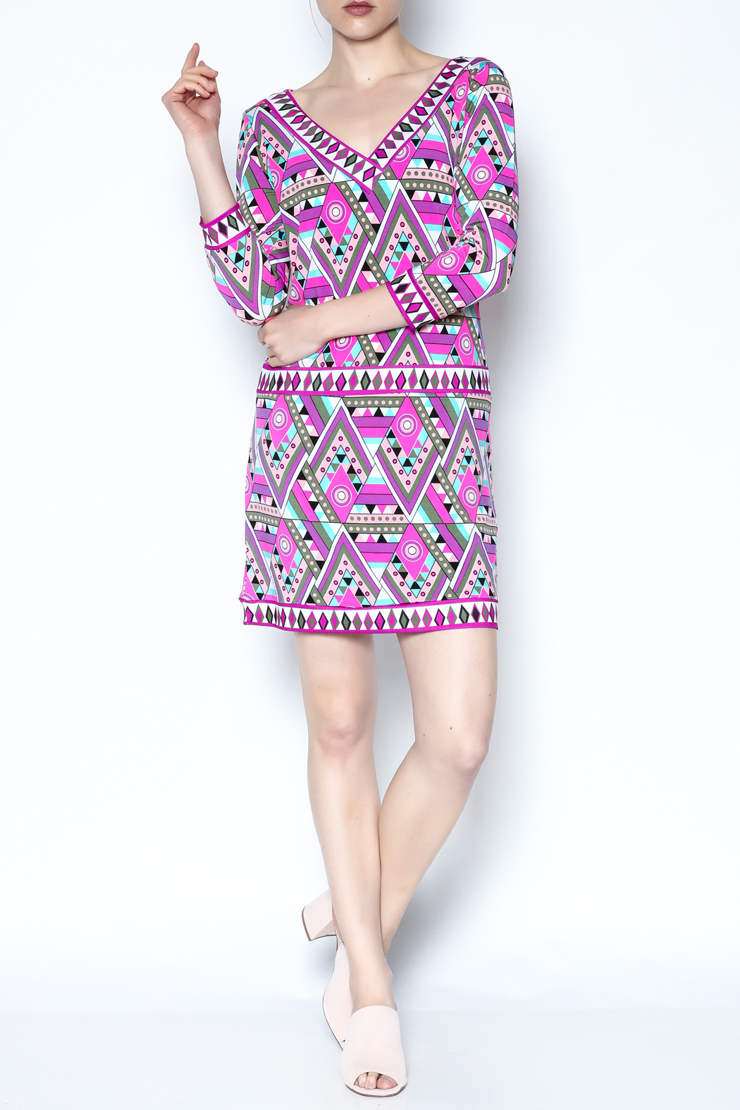 Macbeth Collection Multicolor Pattern Dress - Front Full Image