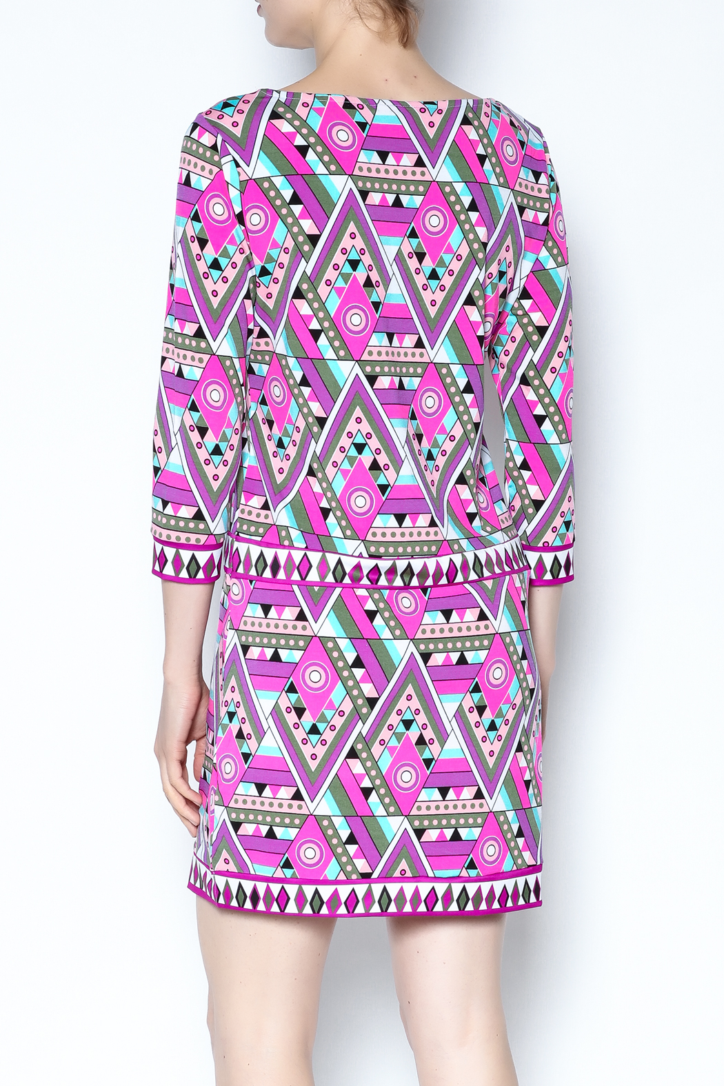 Macbeth Collection Multicolor Pattern Dress - Back Cropped Image