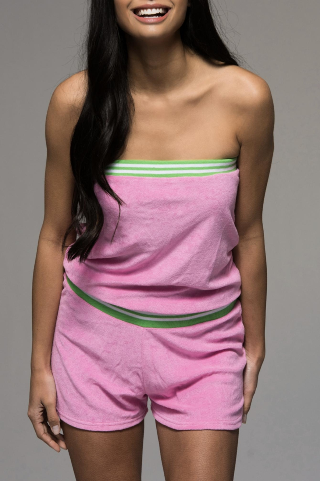 4649d30989 Macbeth Collection Tube Top Terrycloth Romper - Front Cropped Image