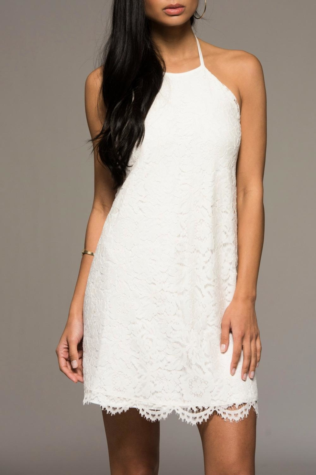 Macbeth Collection White Lacey Dress - Main Image