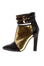 Machi Footwear Black And Gold Booties - Side cropped