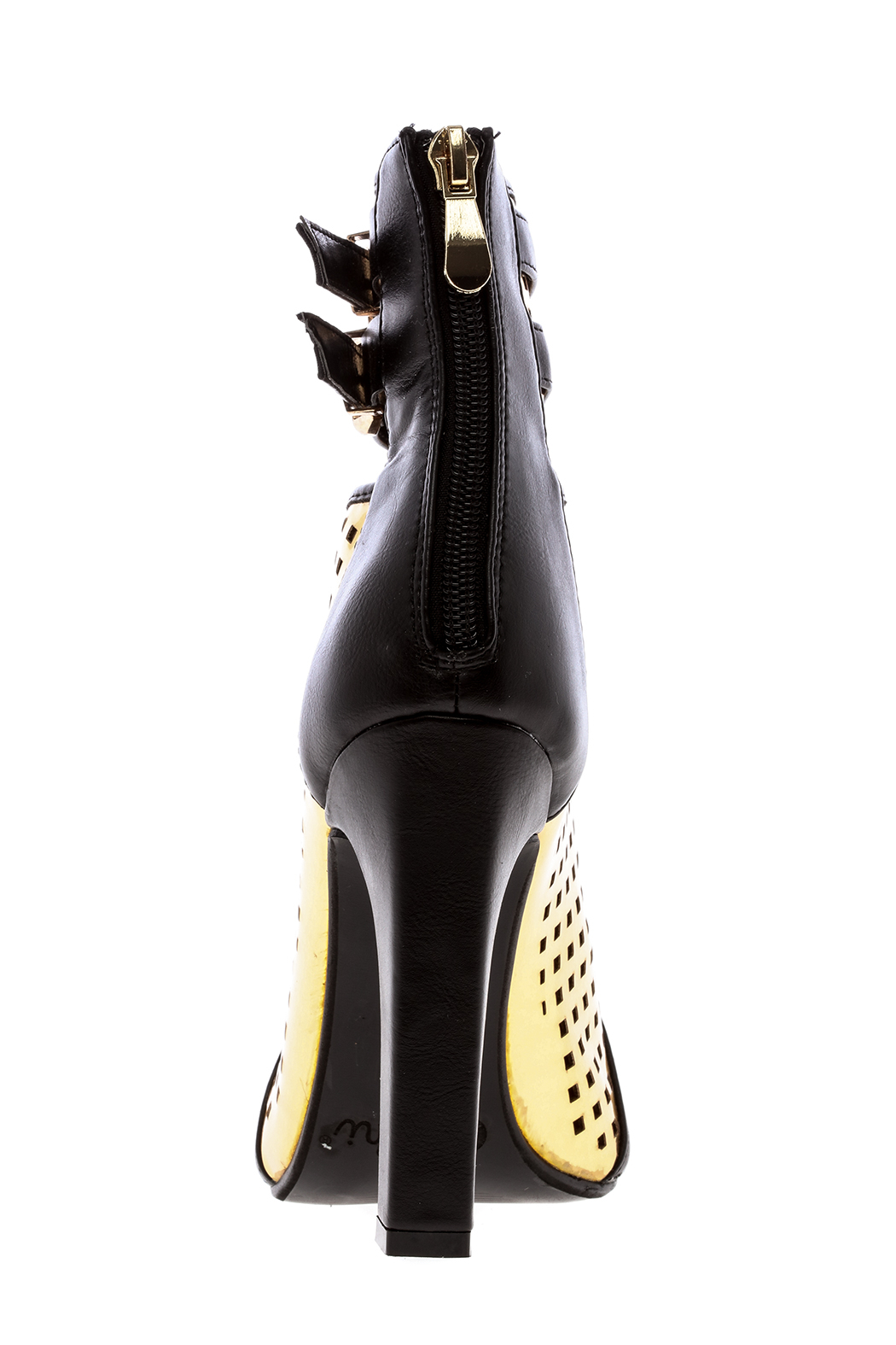 Machi Footwear Black And Gold Booties - Back Cropped Image