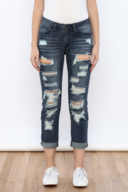 Machine Jeans Cut Off Boyfriend Jeans - Side cropped