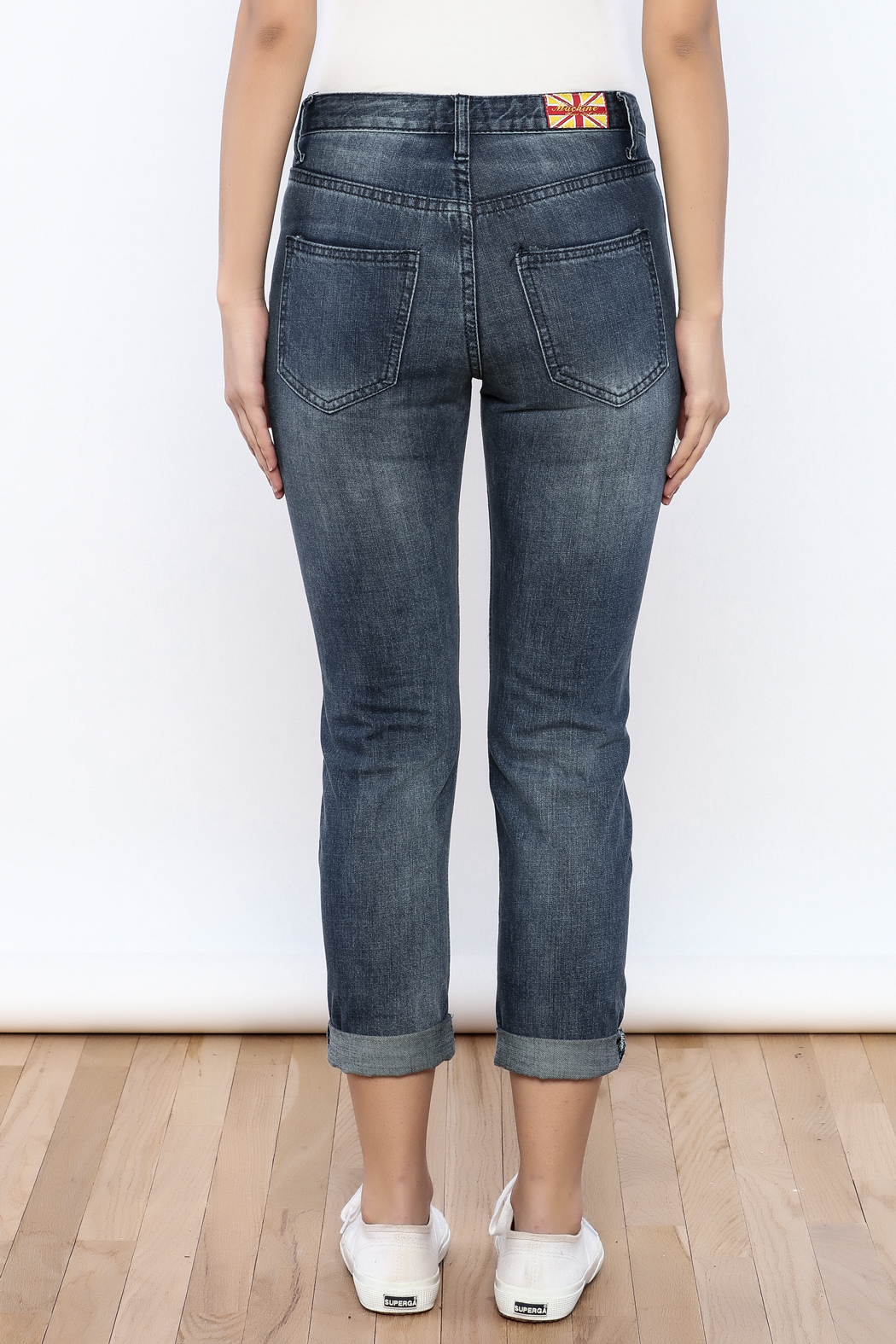 Machine Jeans Cut Off Boyfriend Jeans - Back Cropped Image