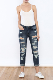 Machine Jeans Cut Off Boyfriend Jeans - Front full body
