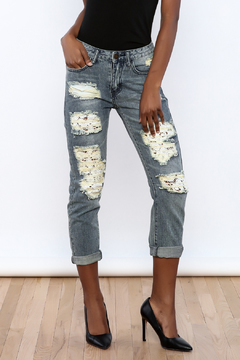 Machine Jeans Lace Cut Off Boyfriend Jeans - Product List Image