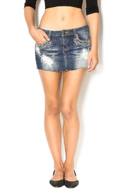 machine Destroyed Denim Mini Skirt - Product Mini Image