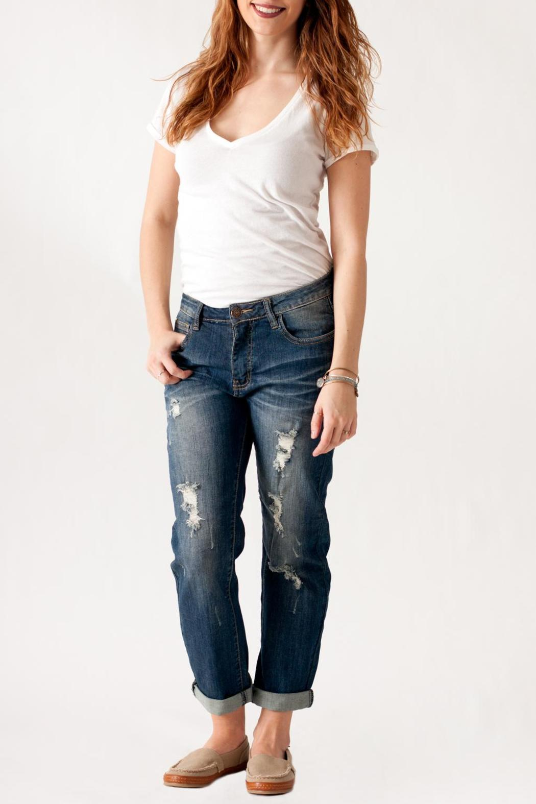 Machine Jeans Destroyed Boyfriend Jeans - Front Cropped Image