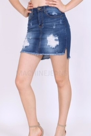 Machine Jeans Distressed Denim Skirt - Product Mini Image