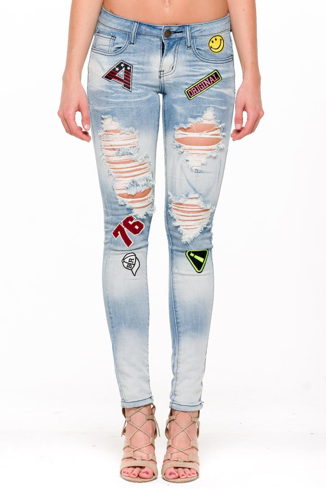 Machine Jeans Distressed Patched Jeans - Main Image