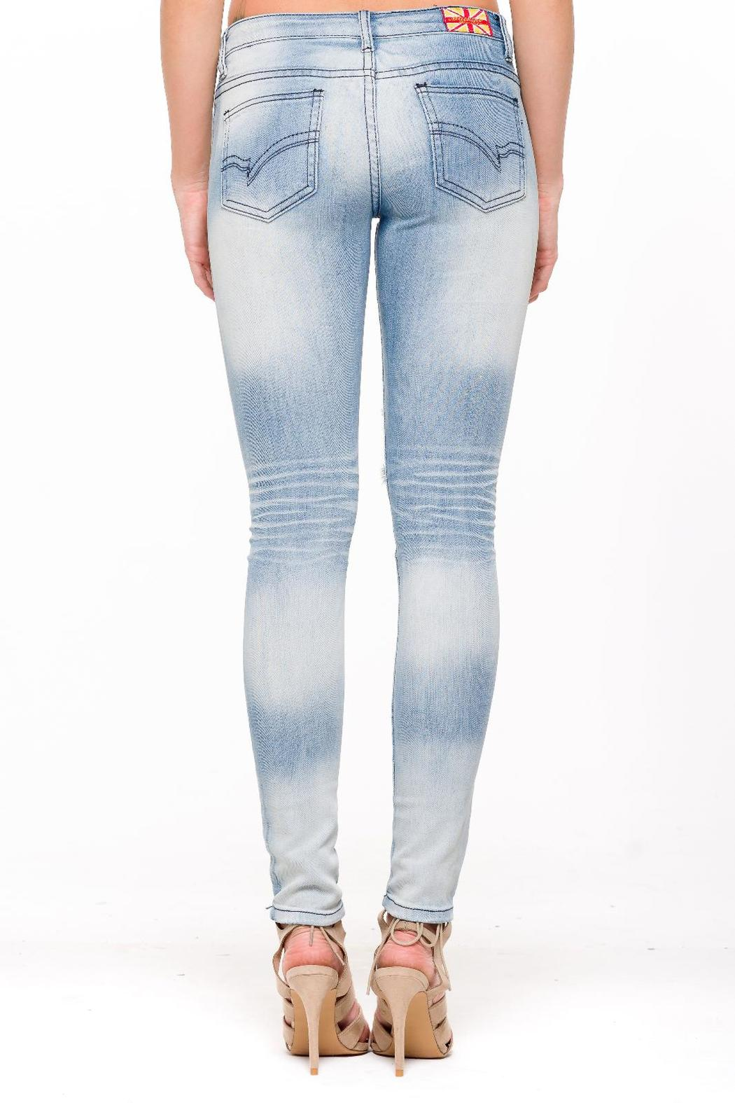 Machine Jeans Distressed Patched Jeans - Front Full Image