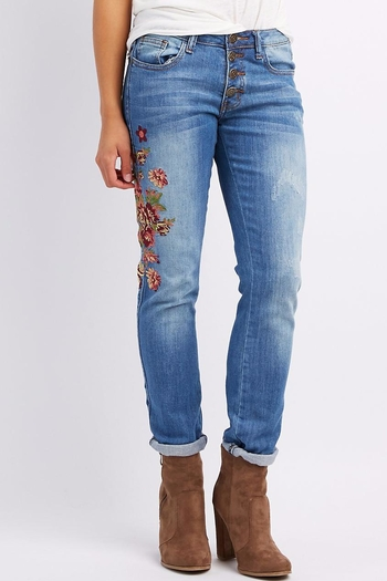 Machine Jeans Embroidered Skinny Jeans - Main Image