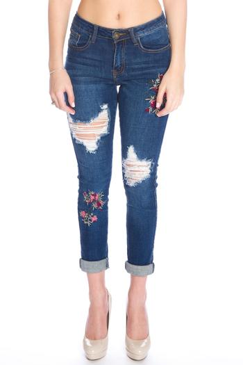 Machine jeans floral embroidered from miami by l a