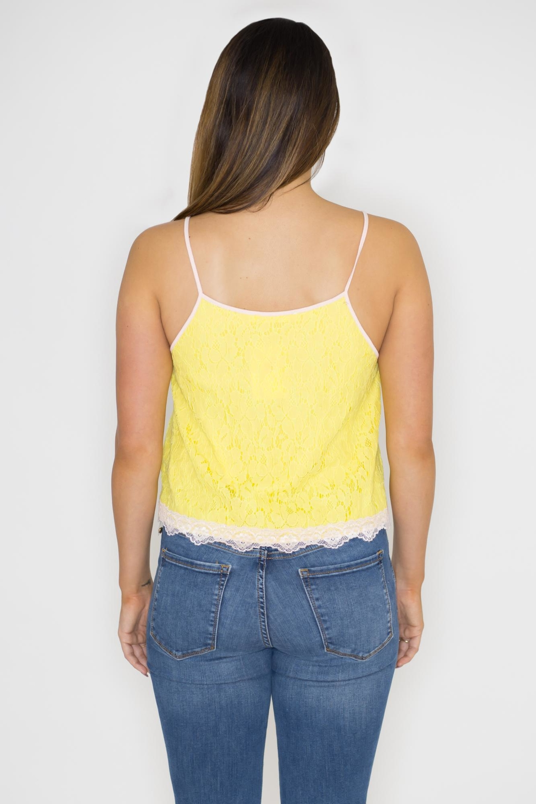 Machine Jeans Yellow Lace Overlay Top - Side Cropped Image