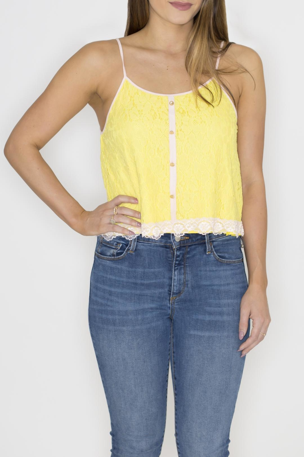 Machine Jeans Yellow Lace Overlay Top - Main Image