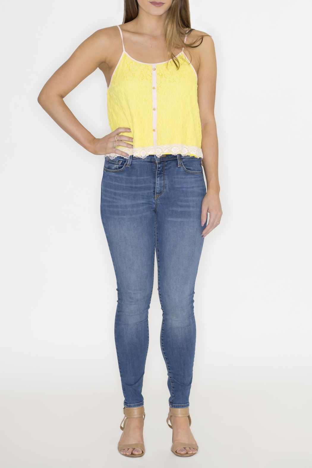 Machine Jeans Yellow Lace Overlay Top - Back Cropped Image