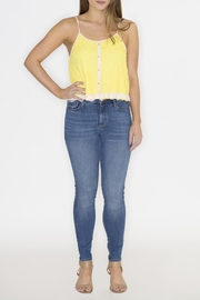 Machine Jeans Yellow Lace Overlay Top - Back cropped