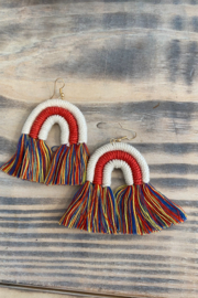 Lovelybeadz Macrame Rainbow Earrings - Front cropped