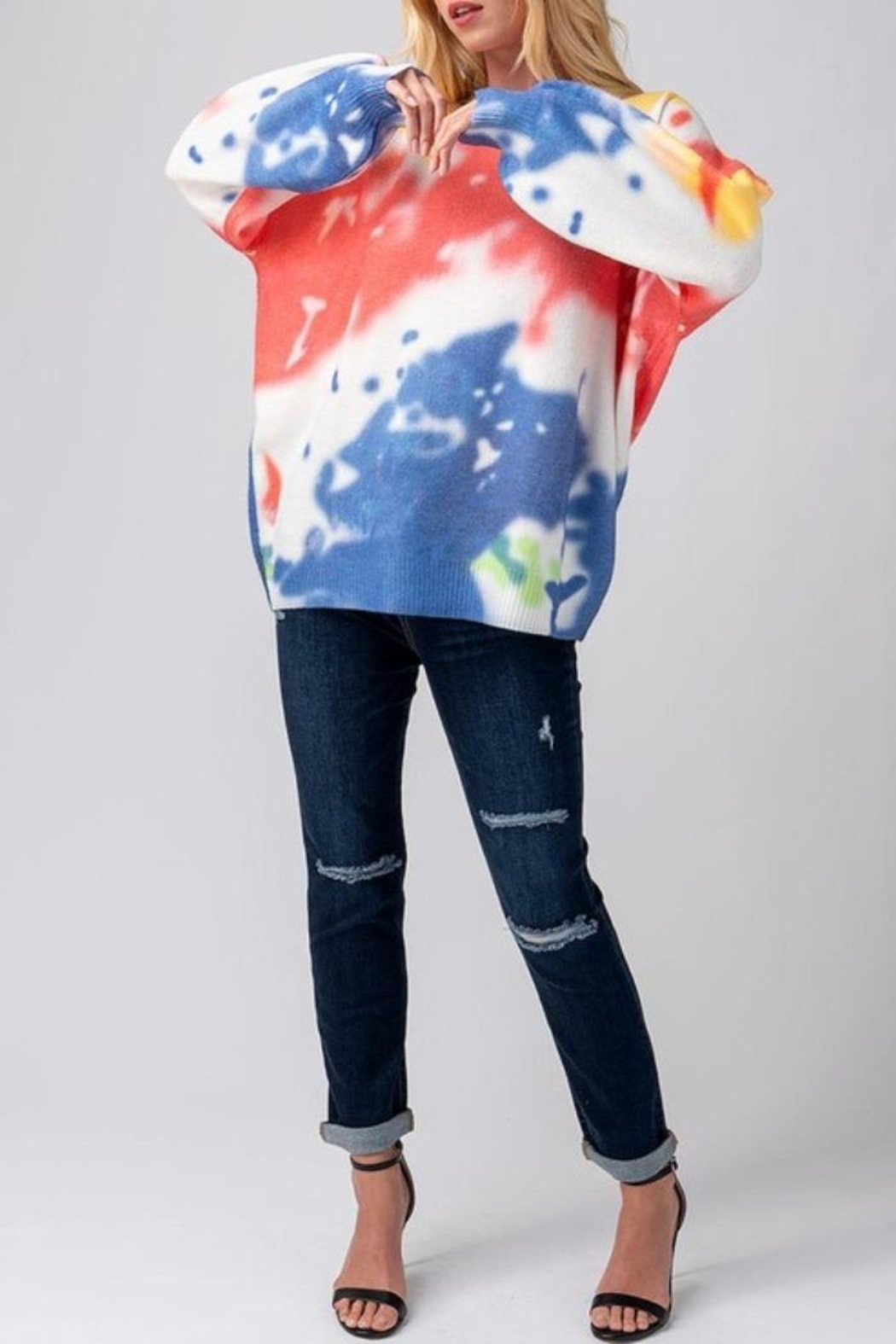 Mad For Love Water Color Sweater - Side Cropped Image
