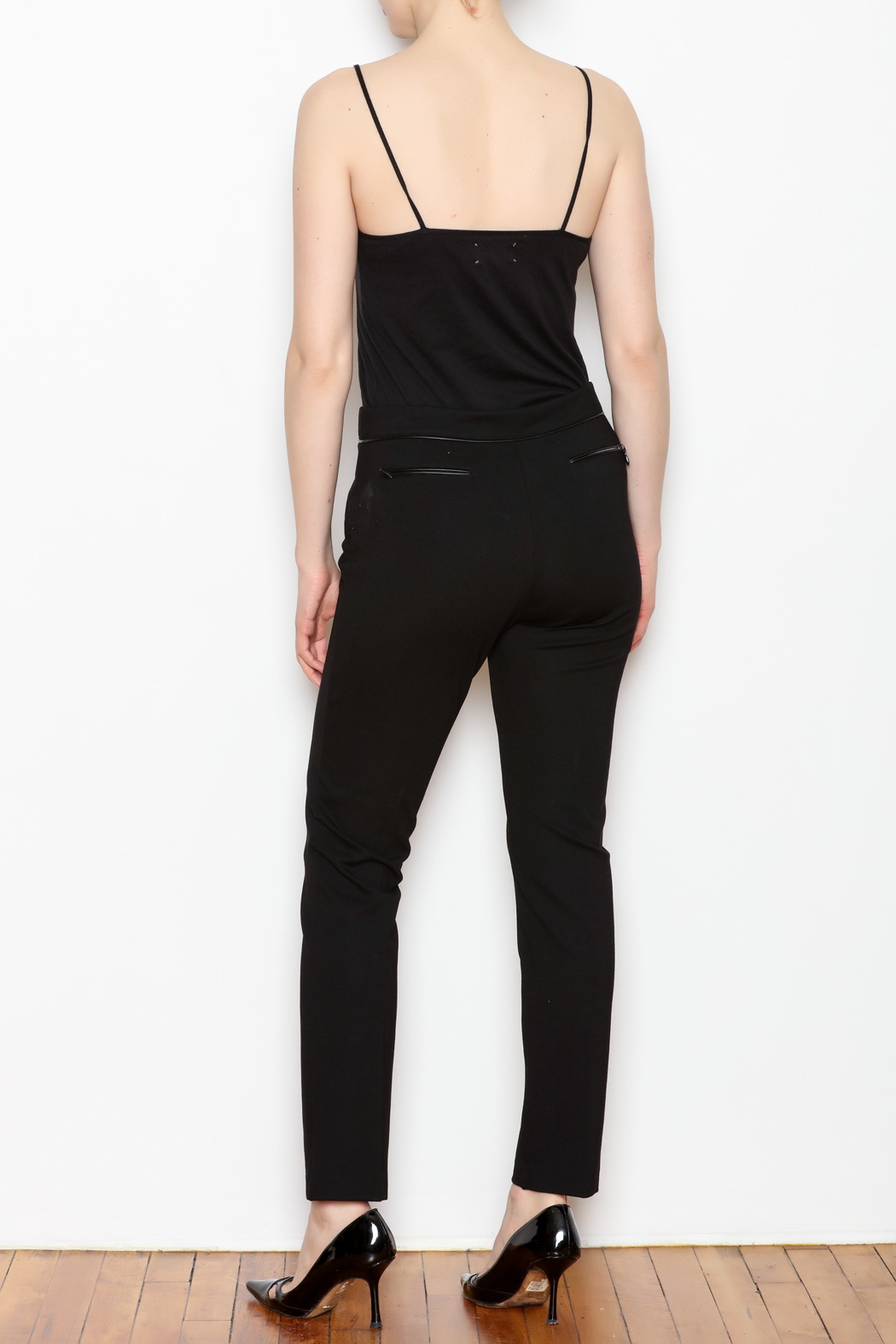 Tyler Boe Maddie Faux Leather Trim Pant - Back Cropped Image
