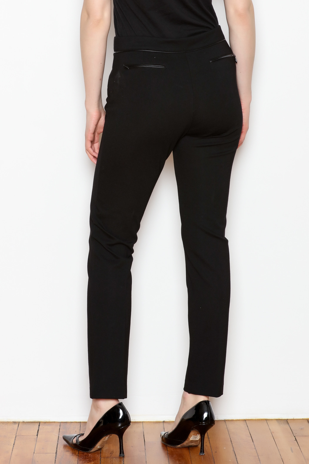 Tyler Boe Maddie Faux Leather Trim Pant - Front Full Image