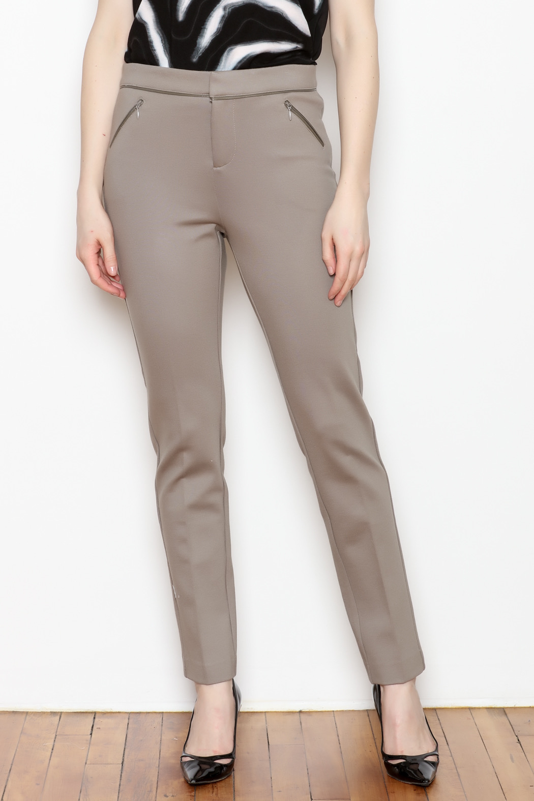 Tyler Boe Maddie Faux Leather Trim Pant - Front Cropped Image