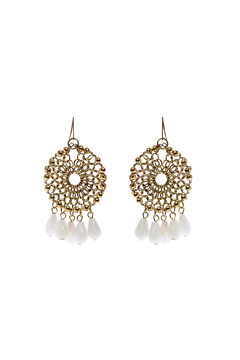 Shoptiques Product: Gold White Circular Dangle