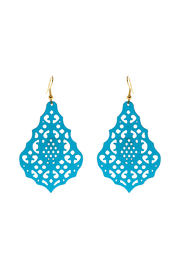 Made It! Turquoise Laser Cut Earrings - Front cropped