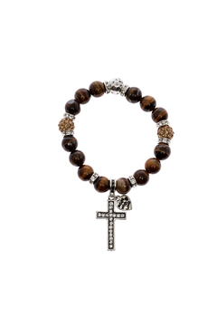 Shoptiques Product: Tiger Eye Silver Stretch Bracelet