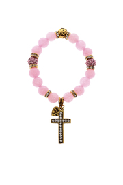 Made It! Pink Gold Stretch Bracelet - Front cropped