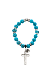 Made It! Turquoise Silver Stretch Bracelet - Front cropped