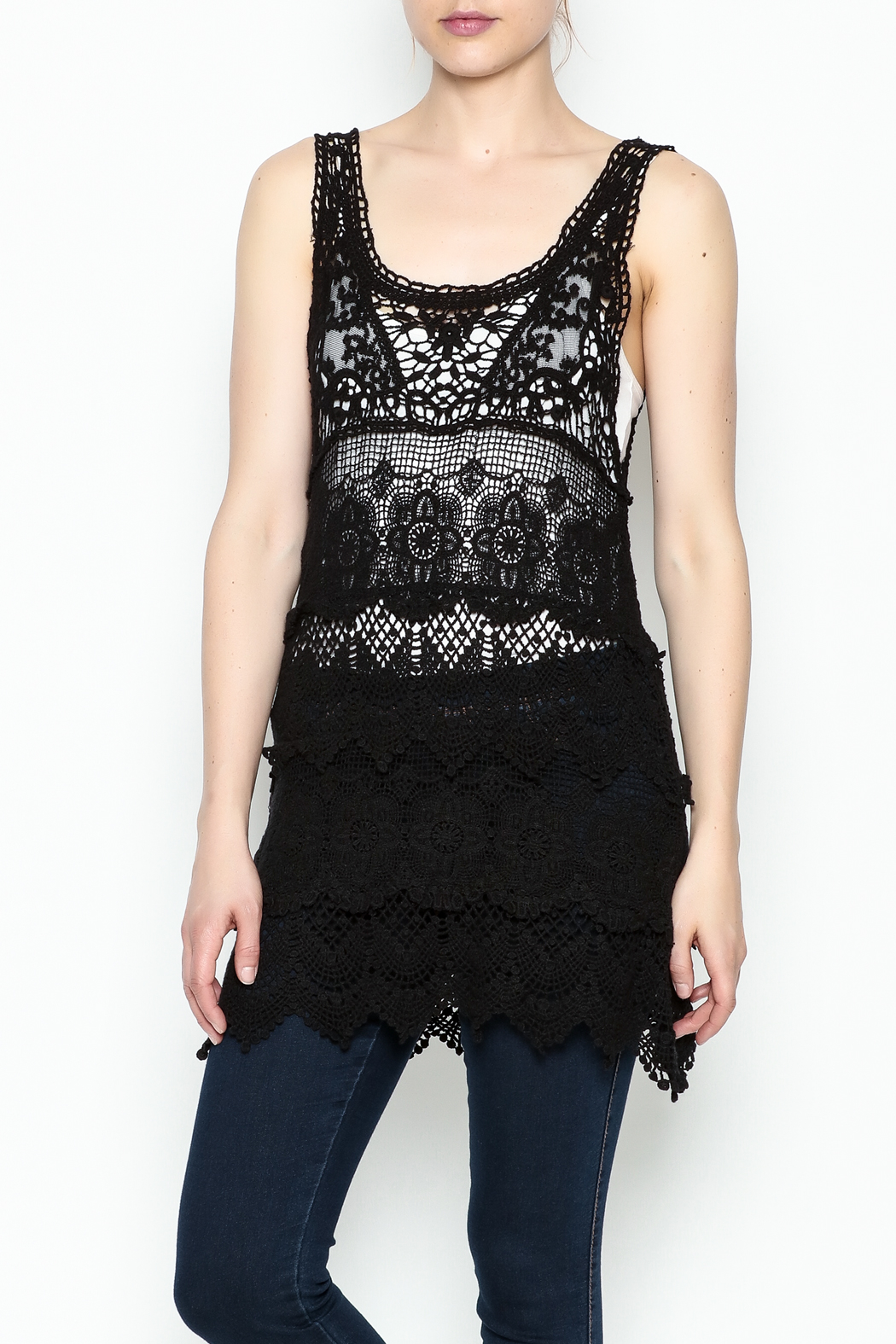 Made on Earth Lace Sleeveless Tunic - Side Cropped Image