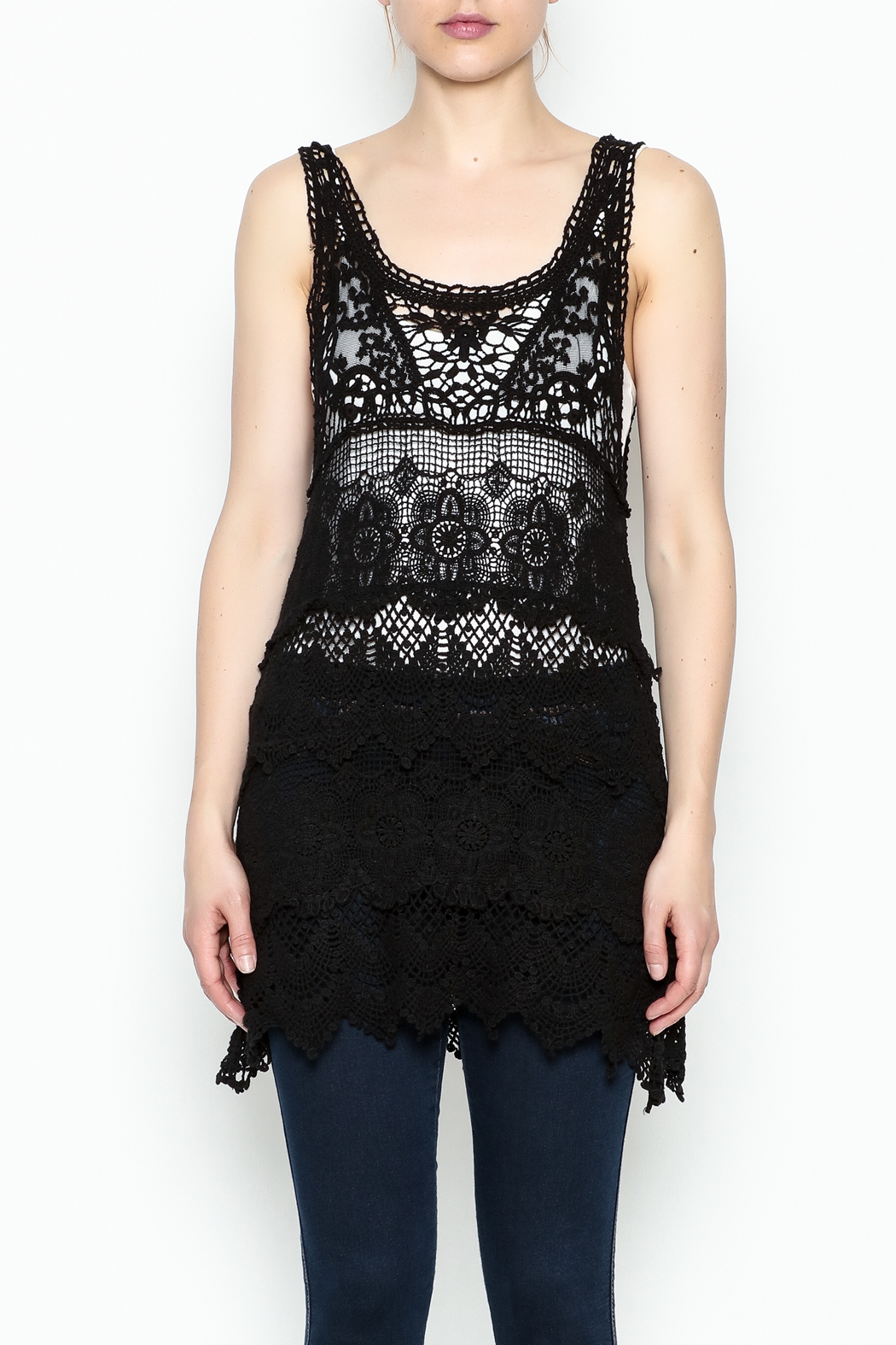 Made on Earth Lace Sleeveless Tunic - Front Cropped Image