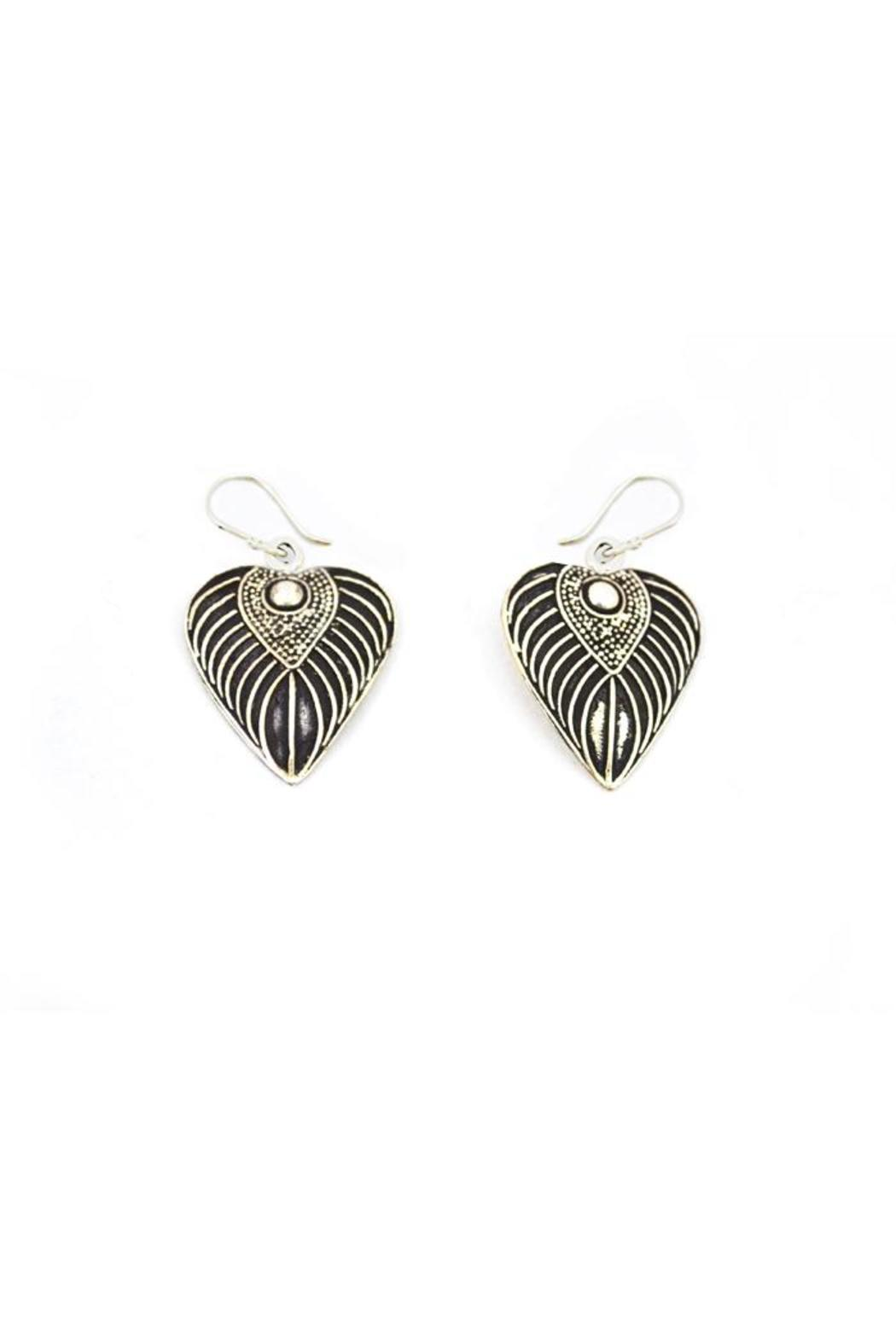 Made on Earth Leaf Heart Earring - Main Image