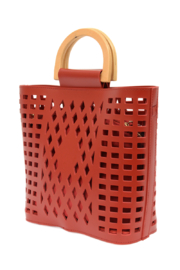 Joy Susan  Red Madison Cut Out Tote - Side cropped