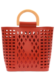 Joy Susan  Red Madison Cut Out Tote - Front full body