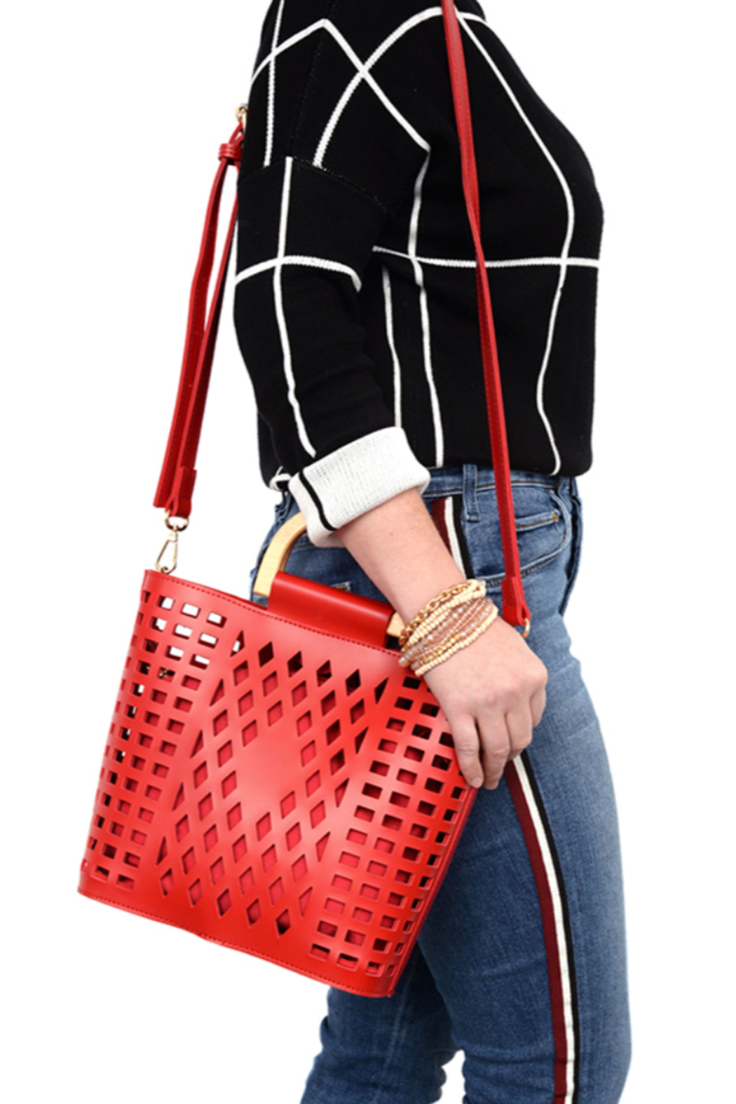 Joy Susan  Red Madison Cut Out Tote - Front Cropped Image